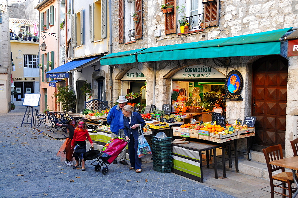 View of shops at the town of Vence, Cote d'Azur, South France, Europe
