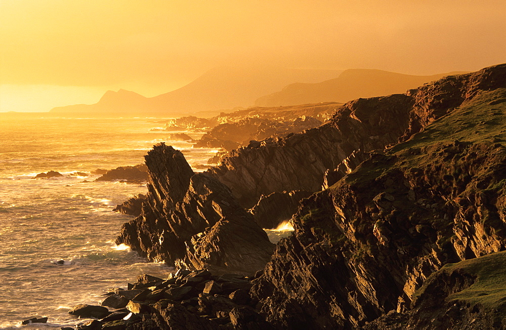Coast area on Achill Island at sunset, County Mayo, Ireland, Europe