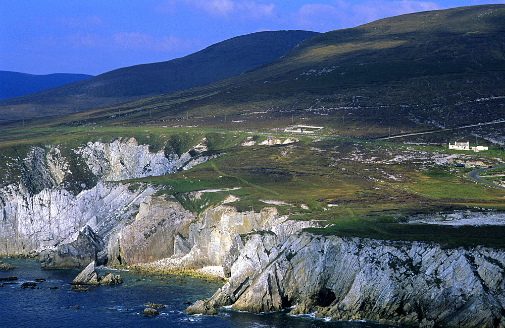 Coast area, view at the steep coast of Achill Island, County Mayo, Ireland, Europe