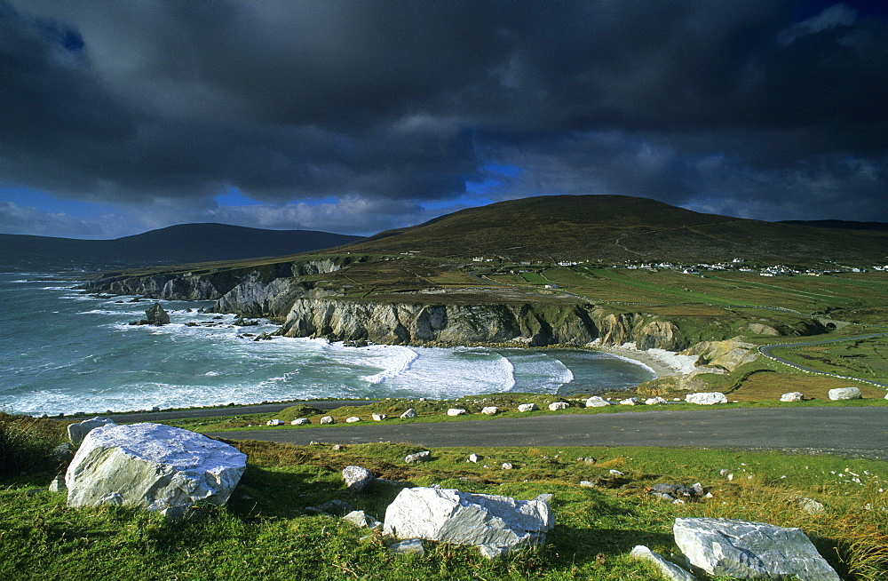 Coast area and ocean under rain clouds, Achill Island, County Mayo, Ireland, Europe