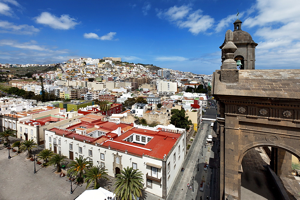 View from the steeple of the cathedral Santa Ana onto the old town, Vegueta, Las Palmas, Gran Canaria, Canary Islands, Spain, Europe