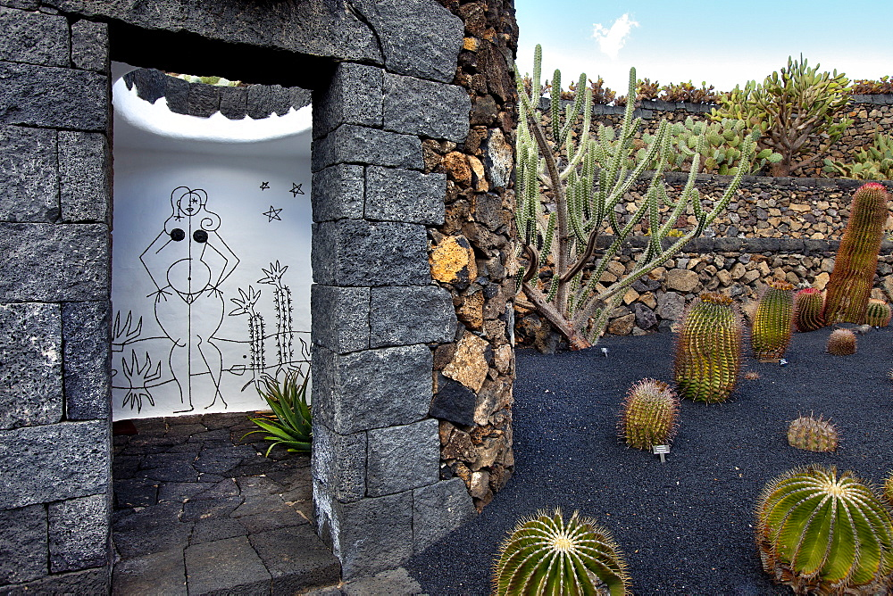Ladies' toilet at the botanical garden, Jardin de Cactus, architect Casar Manrique, Guatiza, Lanzarote, Canary Islands, Spain, Europe