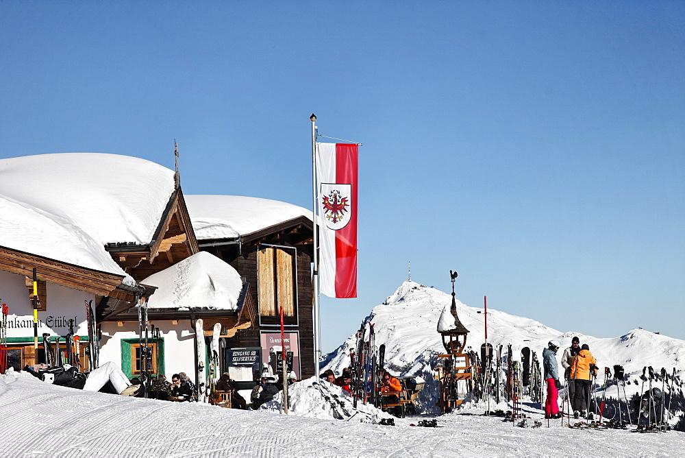 Restaurant Hahnenkamm, Summit, Kitzbuehler Horn in the background, Kitzbuhel, Tyrol, Austria