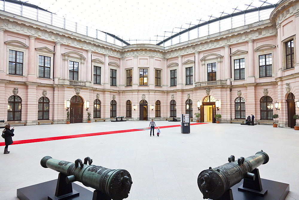 Two guns in atrium with red carpet, German Historical Museum, Zeughaus, Unter den Linden, Berlin center, Berlin, Germany