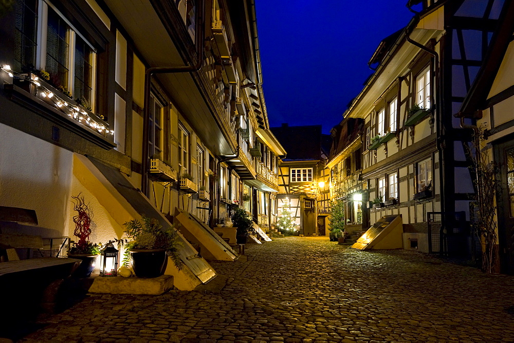 Half-timbered houses along an alley in Gengenbach, Black Forest, Baden-Wurttemberg, Germany