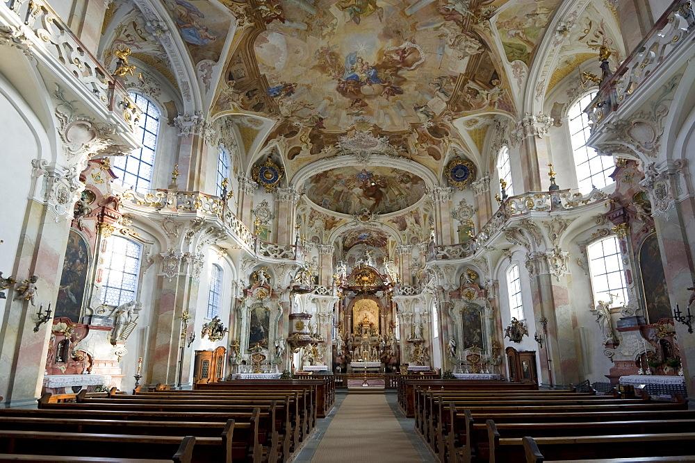 Interior view of cloister church Birnau, Lake Constance, near Ueberlingen, Baden-Wurttemberg, Germany
