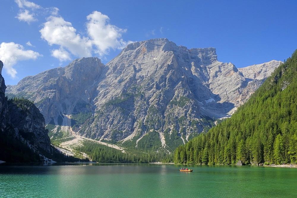 Lake Pragser Wildsee in the sunlight, Dolomites, South Tyrol, Italy, Europe