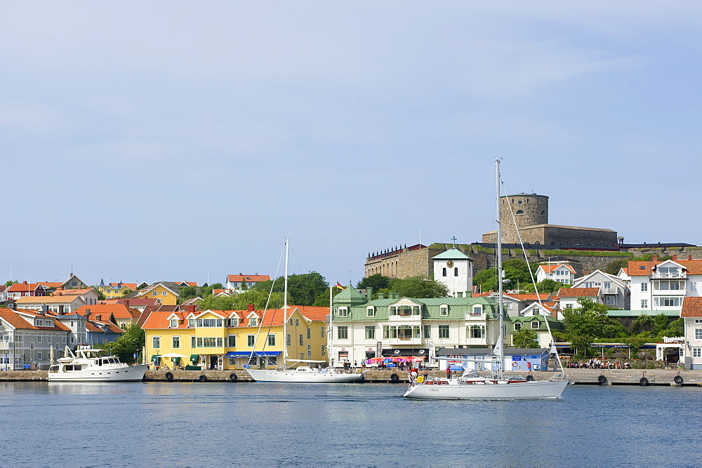 View of seaport with fort Carlsten, Marstrand, Bohuslan, Vastra Gotalands lan, Sweden, Europe