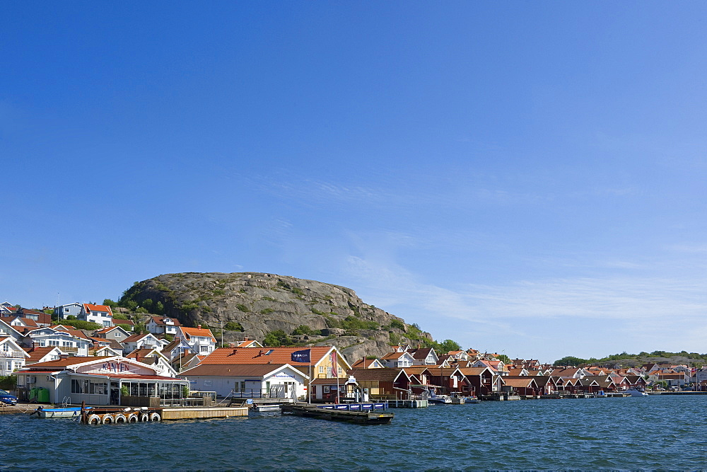 View of the houses of Hunnebostrand on the waterfront, Bohuslan, Vastra Gotalands lan, Sweden, Europe