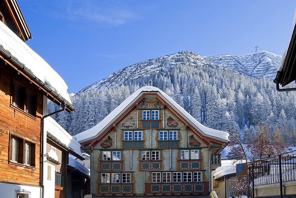 Traditionell house in Andermatt, Andermatt, Urseren, Canton Uri, Switzerland