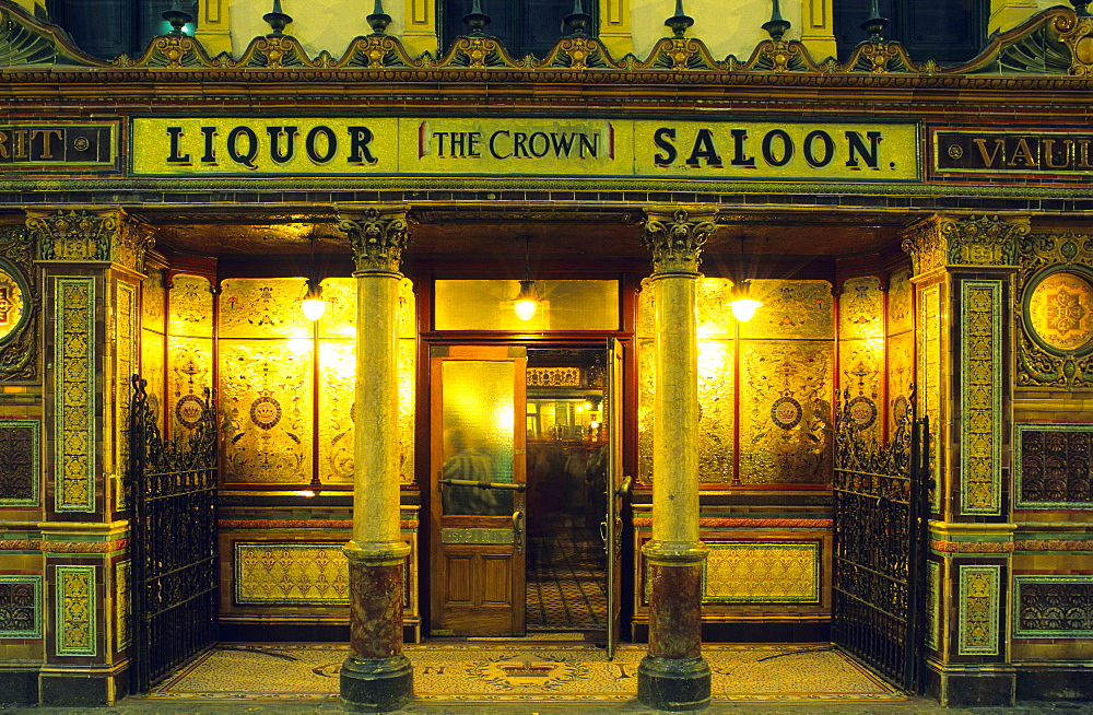 The Crown Liquor Saloon in Great Victoria Street, Belfast, County Antrim, Northern Ireland, United Kingdom, Europe