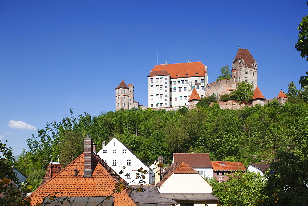 Trausnitz castle above the town of Landshut, Lower Bavaria, Bavaria, Germany, Europe