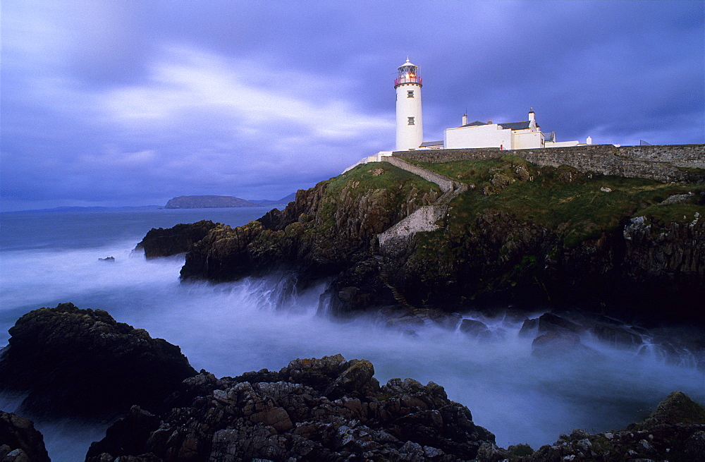 Lighthouse at Fanad Head in the evening light, County Donegal, Ireland, Europe