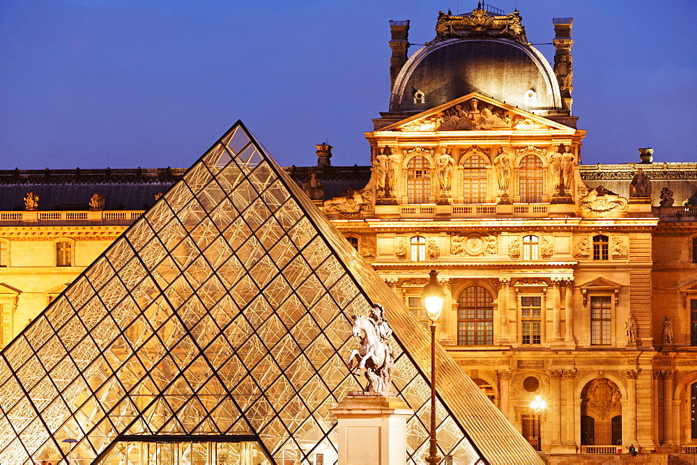 Louvre and the pyramid by I.M. Pei in the evening, Paris, France, Europe