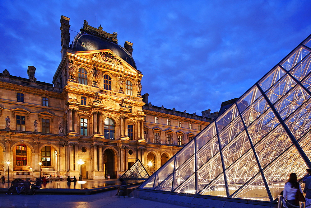 Louvre and the pyramid by I.M. Pei, Paris, France, Europe