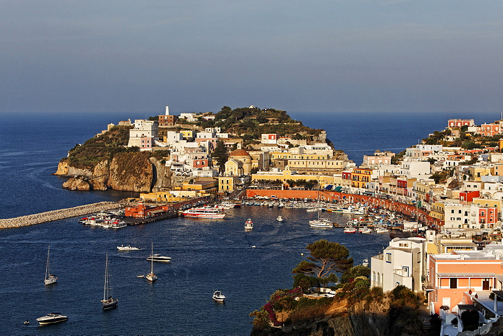 View of the port and the town of Ponza, Island of Ponza, Pontine Islands, Lazio, Italy, Europe