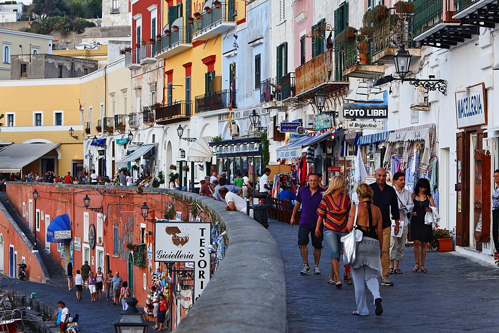 Tourists at the corso, Town of Ponza, Island of Ponza, Pontine Islands, Lazio, Italy, Europe