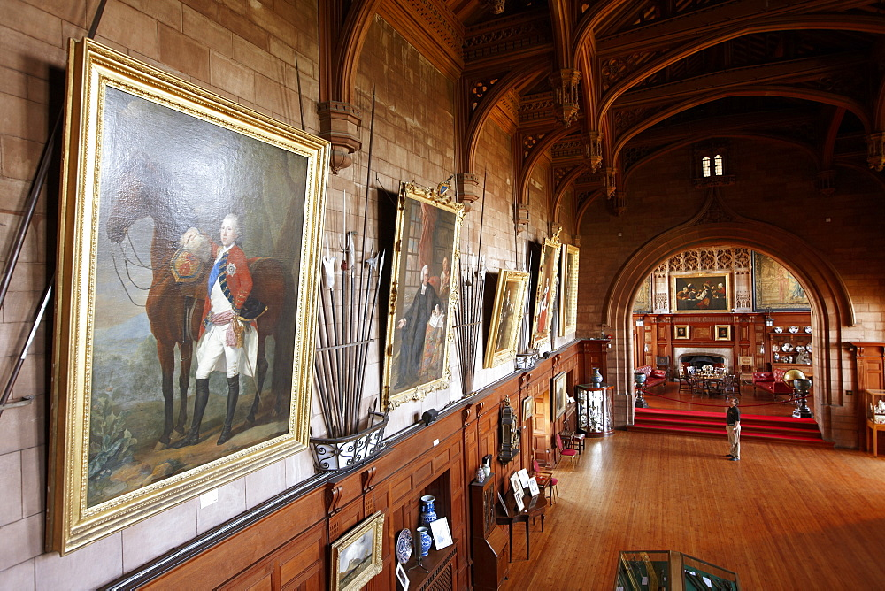 Ancestral portrait gallery in the exibition at Kings Hall, Bamburgh Castle, Bamburgh, Northumberland, England, Great Britain, Europe