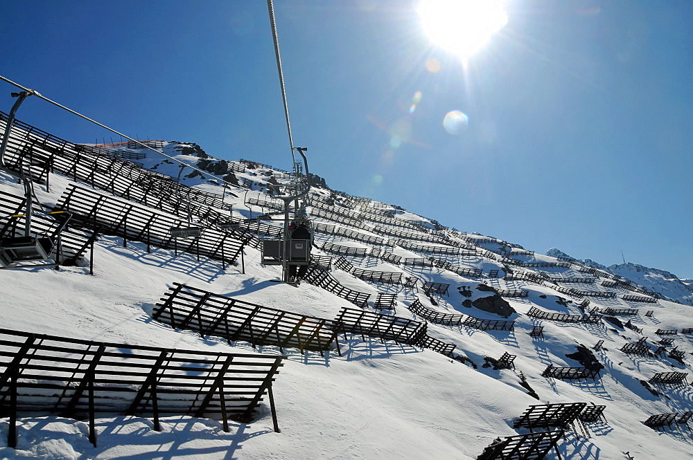 Avalanche protection at Sennigrat, skiarea Silvretta Montafon in the Montafon, Vorarlberg, Austria, Europe