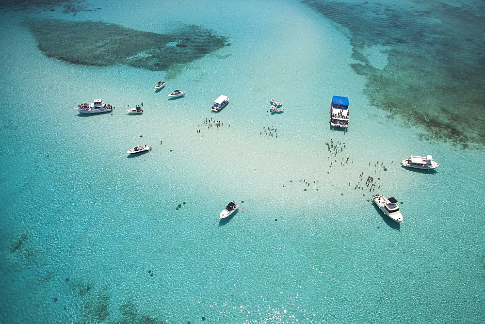Aerial view of Stingray City sand bank with excursion boats and people swimming, Grand Cayman, Cayman Islands, Caribbean - 1113-92444
