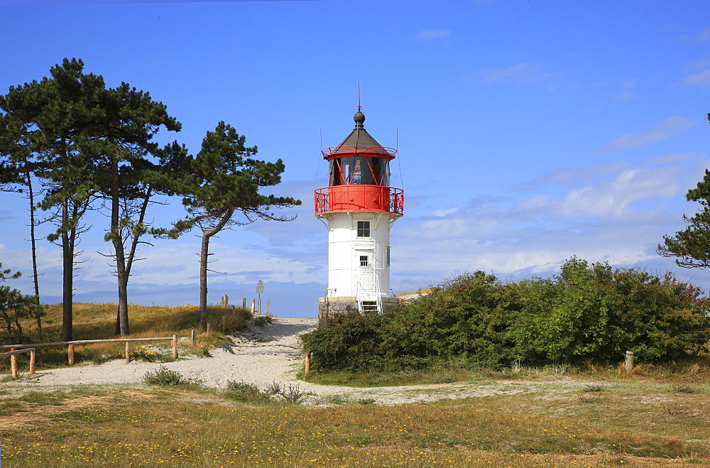 Lighthouse in the south of Hiddensee Island, Western Pomerania Lagoon Area National Park, Mecklenburg Western Pomerania, Germany, Europe