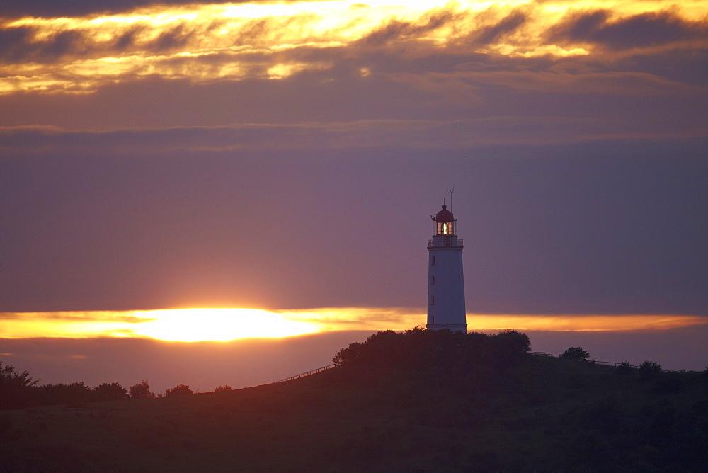 Dornbusch lighthouse at sunset, Hiddensee Island, Western Pomerania Lagoon Area National Park, Mecklenburg Western Pomerania, Germany, Europe