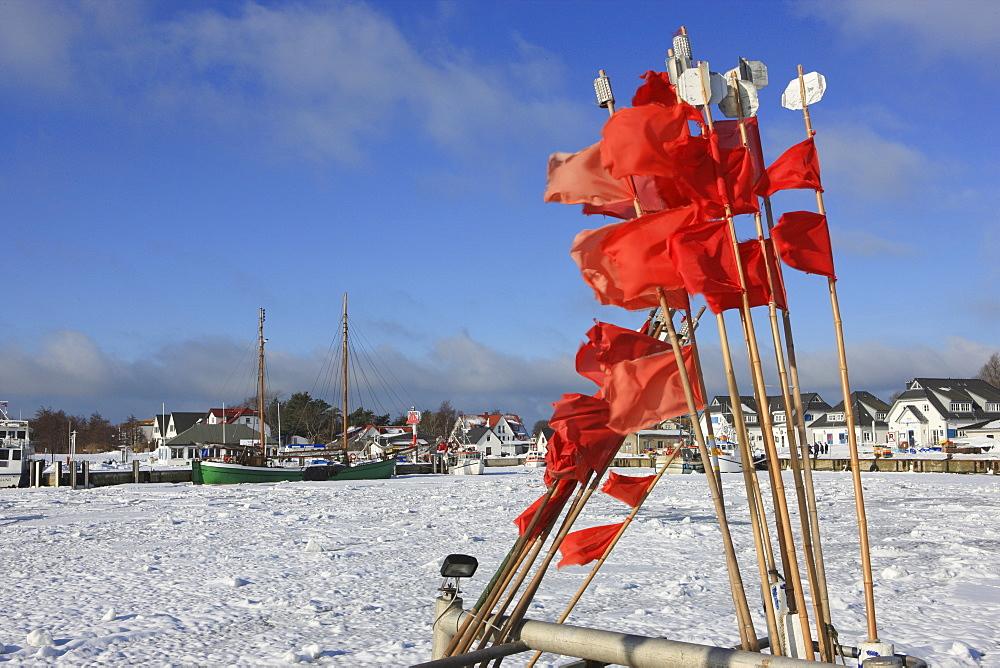 Harbour of Vitte in winter, Hiddensee Island, Western Pomerania Lagoon Area National Park, Mecklenburg Western Pomerania, Germany, Europe