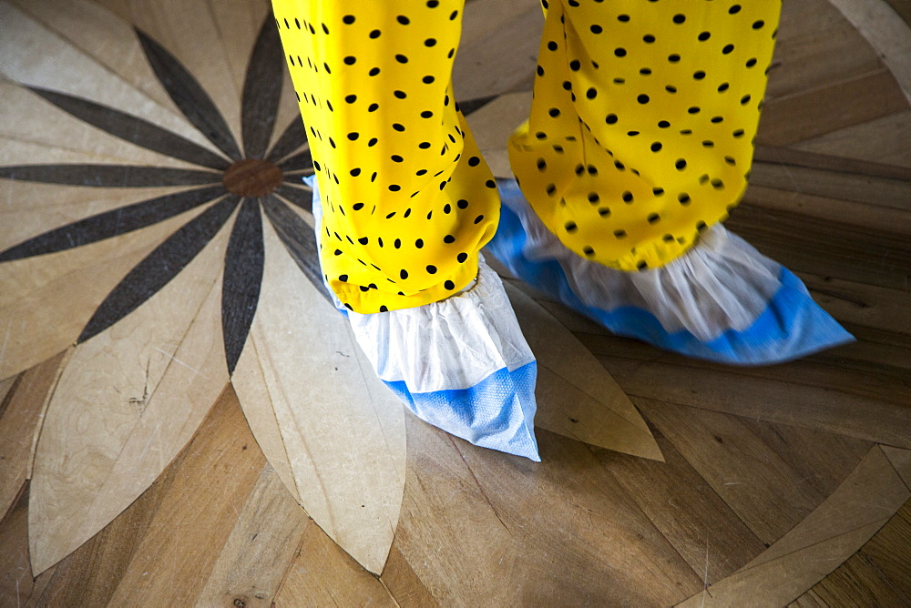 Shoes with protective slippers on wooden floor of Catherine Palace, Tsarskoye Selo, Pushkin, St. Petersburg, Russia, Europe