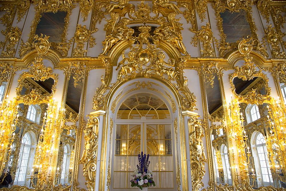 Interior of Catherine Palace, Tsarskoye Selo, Pushkin, St. Petersburg, Russia, Europe