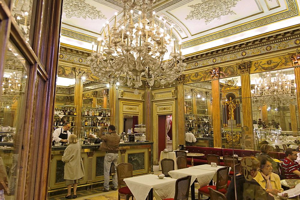 Indoor view of Cafe San Carlo, Torino, Piemont, Italy