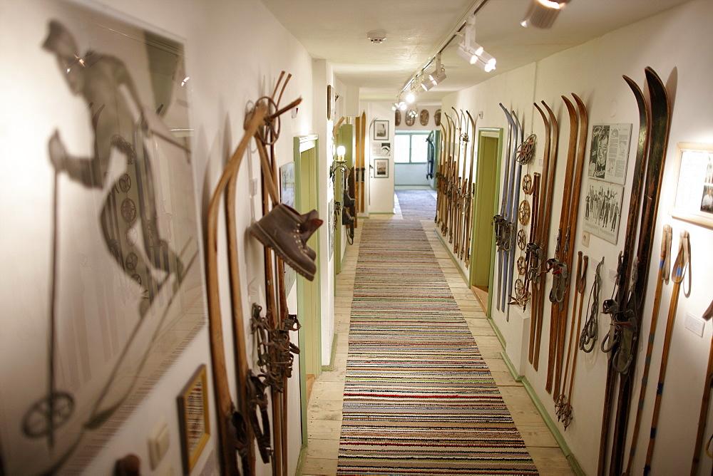 Hallway with ski Museum, Ecohotel Grafenast, Am Hochpillberg, Schwaz, Tyrol, Austria