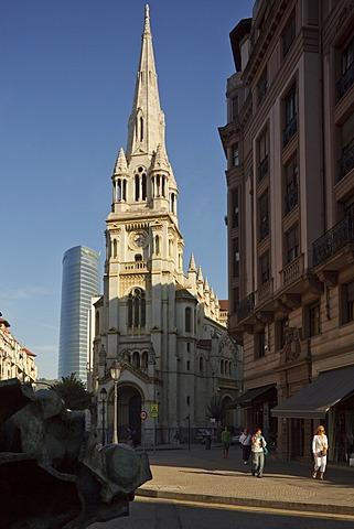 Church San Jose in front of high rise building Torre Iberdrola, Plaza San Jose, Bilbao, Province of Biskaia, Basque Country, Euskadi, Northern Spain, Spain, Europe
