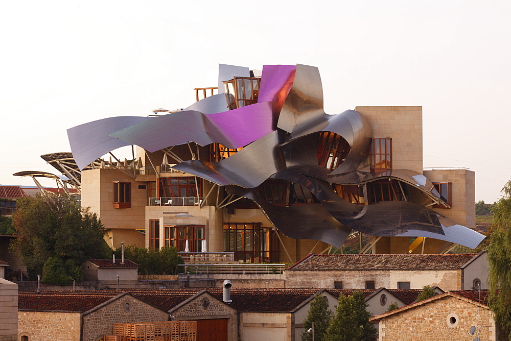 Hotel Marques de Riscal, architect Frank Gehry, Bodega Herederos del Marques de Riscal, winery, Elciego, village, La Rioja Alavesa, province of Alava, Basque Country, Euskadi, Northern Spain, Spain, Europe