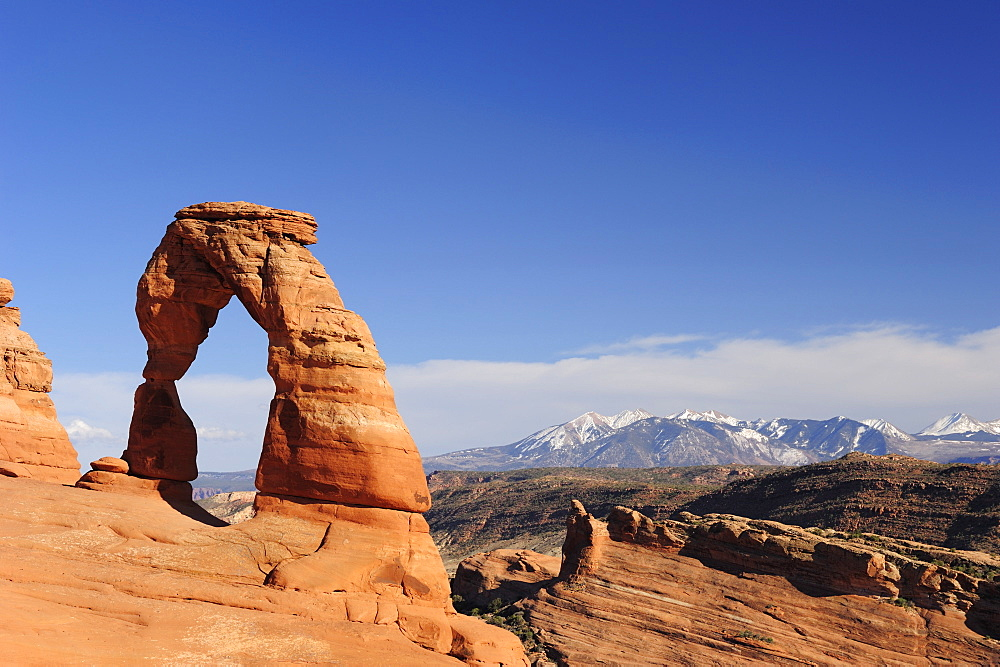 Delicate Arch in the sunlight, Arches National Park, Moab, Utah, Southwest, USA, America