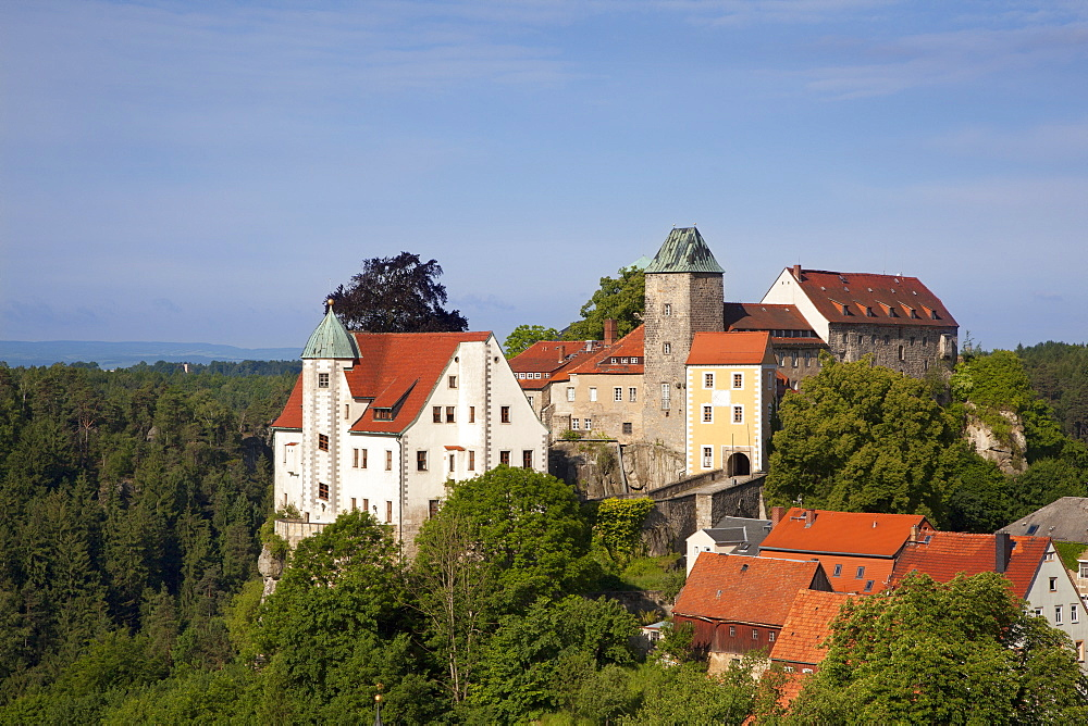 View of Hohnstein castle, Hohnstein, National Park Saxon Switzerland, Elbe Sandstone Mountains, Saxony, Germany, Europe