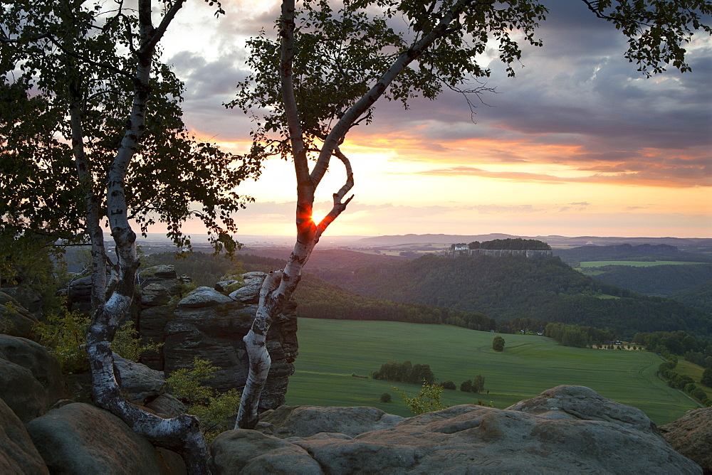 View from Pfaffenstein Rock onto Koenigstein castle at sunset, National Park Saxon Switzerland, Elbe Sandstone Mountains, Saxony, Germany, Europe