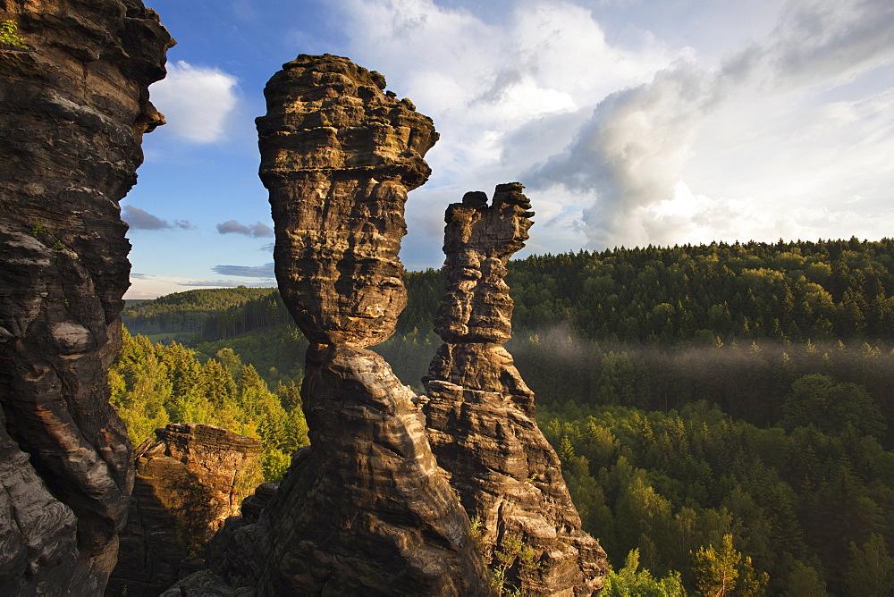 Hercules Towers at Bielatal valley, National Park Saxon Switzerland, Elbe Sandstone Mountains, Saxony, Germany, Europe
