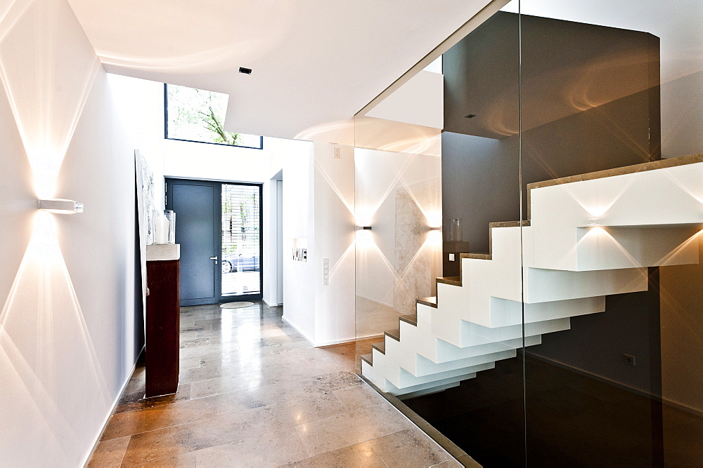 Entry area with staircase, Neuenkirchen, North Rhine-Westphalia, Germany
