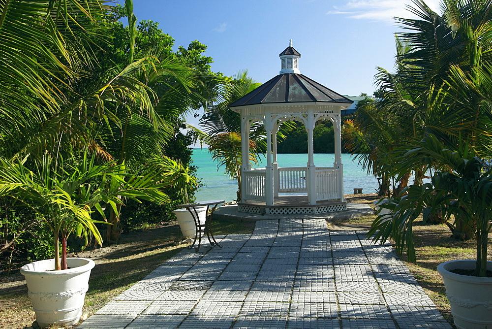 White pavilion on the waterfront, Gazebo at The Veranda Resort, Antigua, West Indies, Caribbean, Central America, America