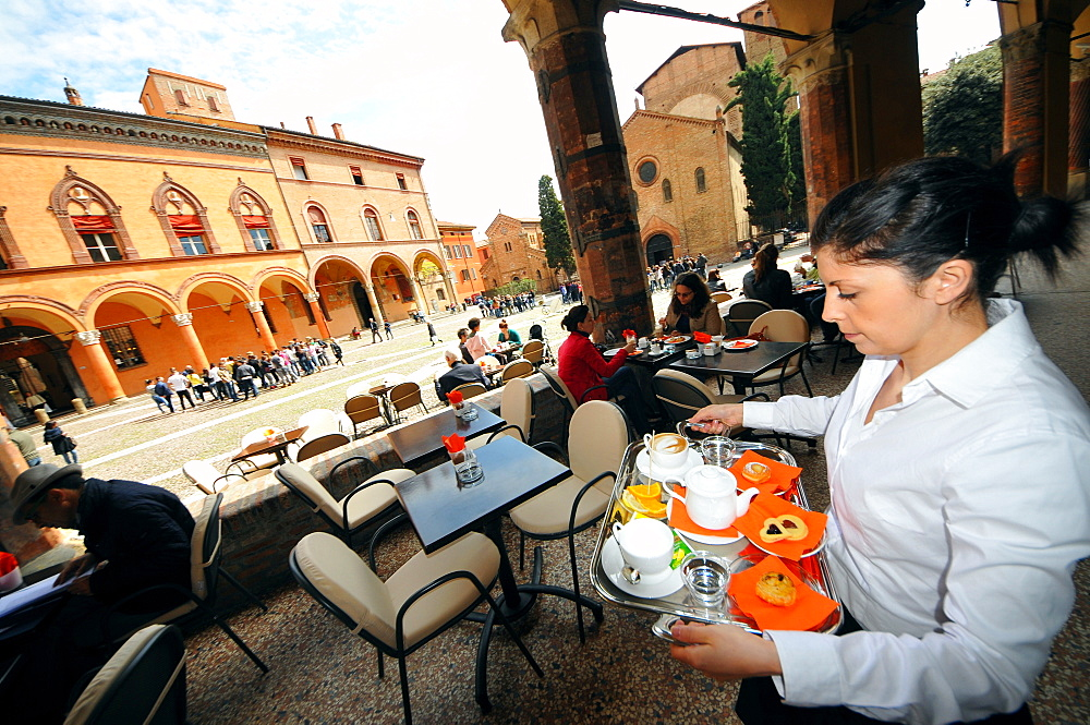 Cafe on Santo Stefano square, Bologna, Emilia-Romagna, Italyly