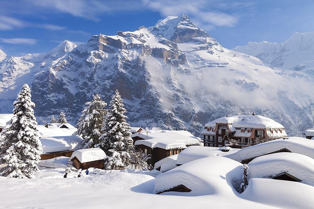 Deep Winter at Muerren, view to Moench, Silberhorn and Jungfrau, Muerren-Schilthorn skiing area, Lauterbrunnental, Jungfrauregion, Bernese Oberland, Canton Bern, Switzerland, Europe