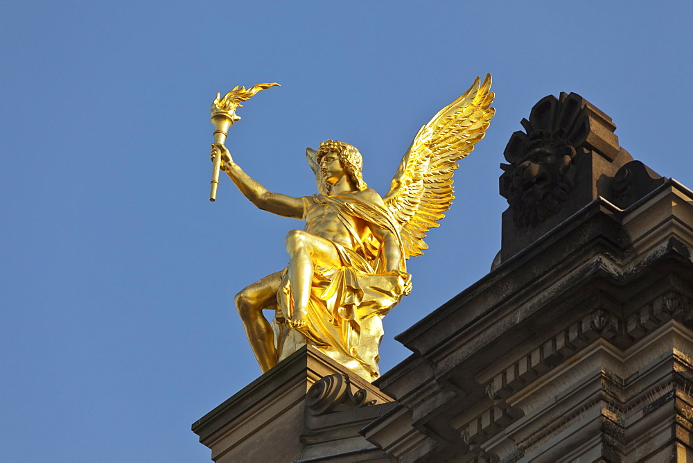 Golden Eros with torch and wings, Academy of Arts, Dresden, Saxony, Germany