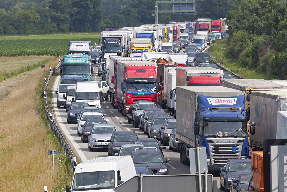 Traffic at a standstill on a German Autobahn, traffic jam, bavaria, Germany
