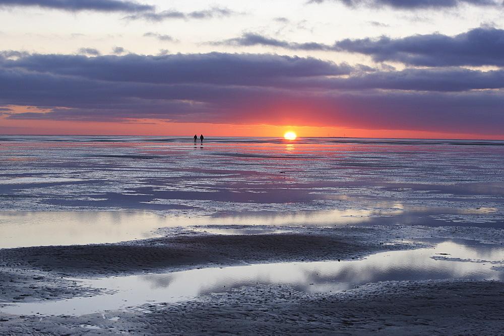 Sunset at Wadden Sea, Island of Juist, East Frisia, Lower Saxony, Germany, Europe