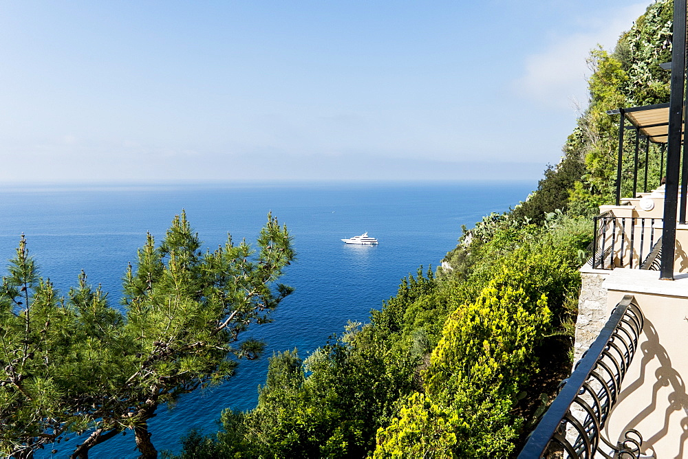 View on the sea with yacht, Capri, Campania, Italy