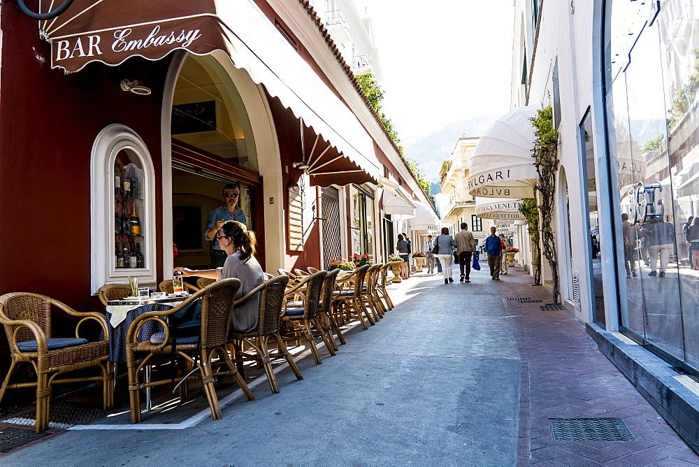 Shopping street in Capri city, Capri, Campania, Italy