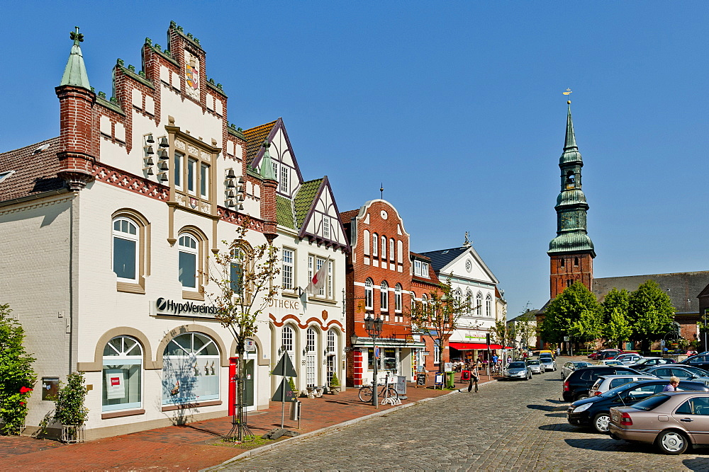 Market place of Toenning, Northern Frisia, Schleswig Holstein, Germany