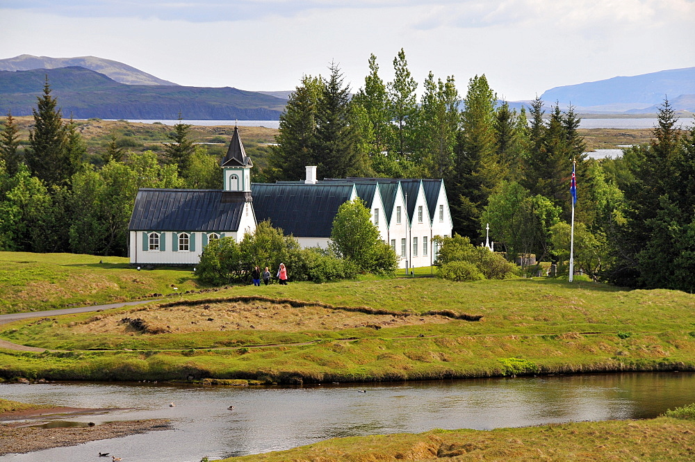 Church and houses of Pingvellir at the golden circle, Iceland, Europe