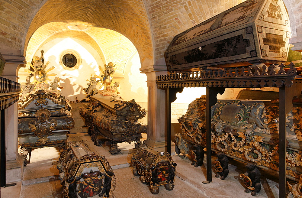 Coffins in the crypt of Jakob church, Koethen, Saxony-Anhalt, Germany, Europe