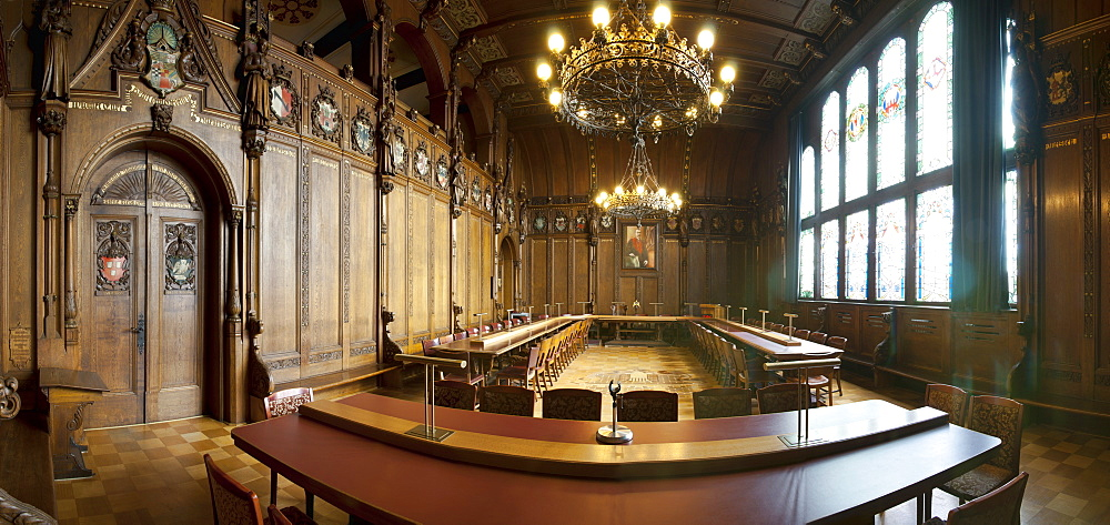 Interior view of the Council hall, Town hall of Koethen, Saxony-Anhalt, Germany, Europe